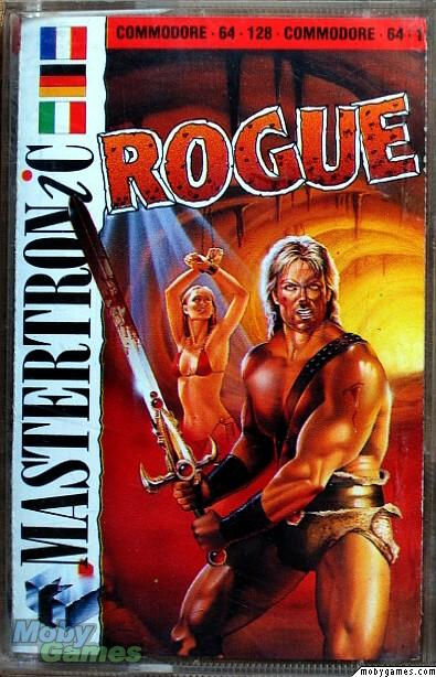 Rogue C64 box art, with a muscley man wielding a homoerotic sword. In the background is a bikini-clad lady to rescue.
